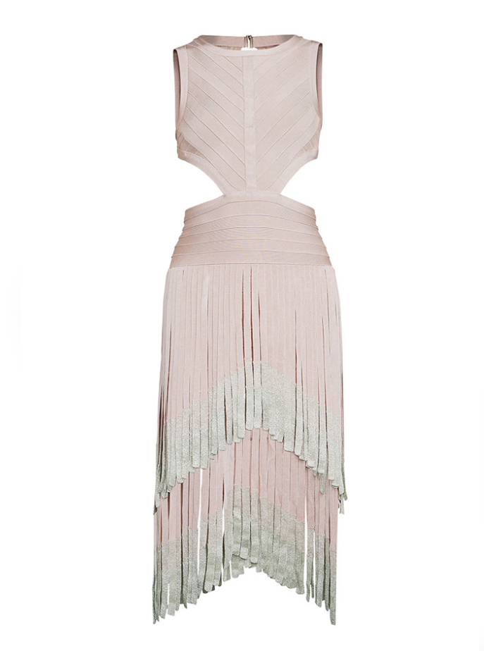 Slay Accessories. Blush bandage fringe dress with cutout side and metallic accents.