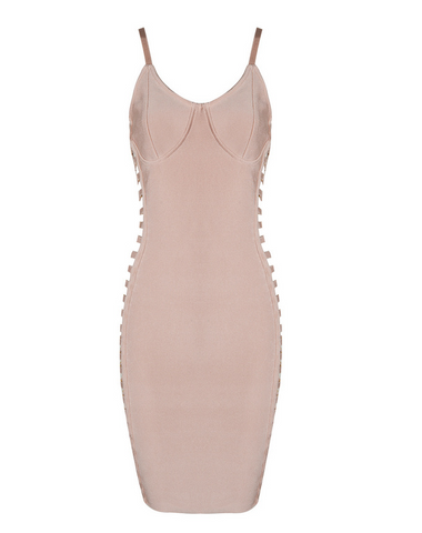 Slay Accessories. Blush bandage dress with side cut out paneling.