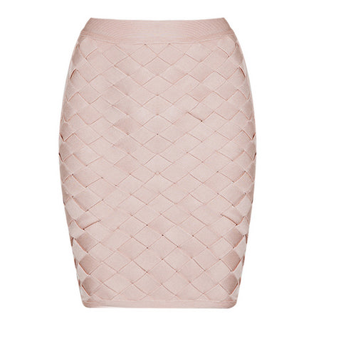 Slay Accessories. Blush woven lattice bandage skirt.