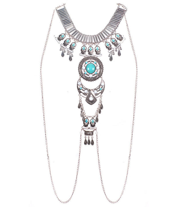 Bohemian Turquoise Silver Necklace Body Chain Necklace