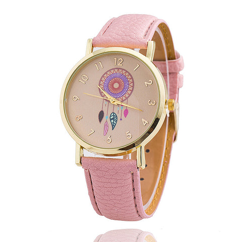 Bohemian Style Feather Graphic Face Dial Watch Fashion Leather Band Wristwatch