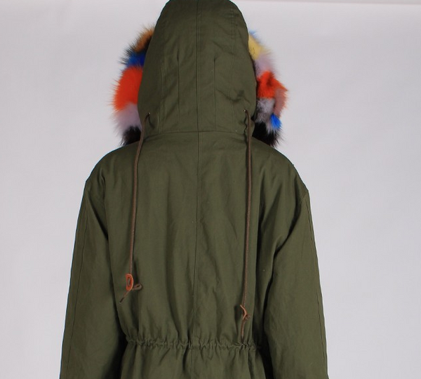 Multi Color Fox Fur Parka Coat Arm Green Jacket