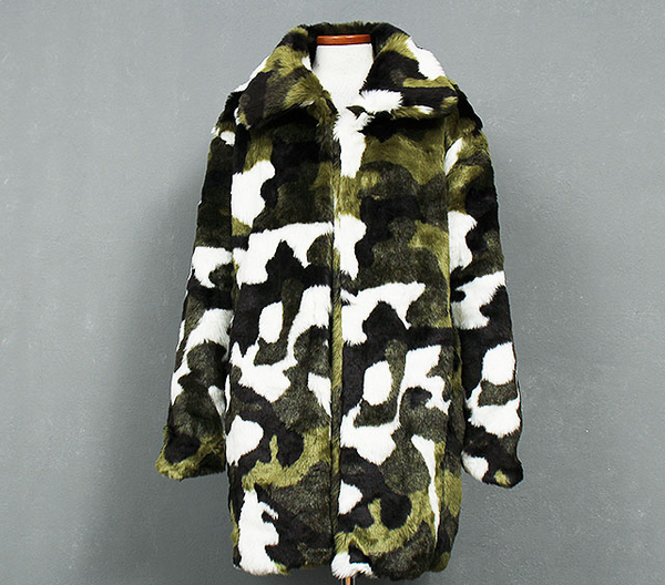 Slay Accessories. Camouflage fur coat. Camouflage faux fur coat. Furry camouflage boyfriend coat.