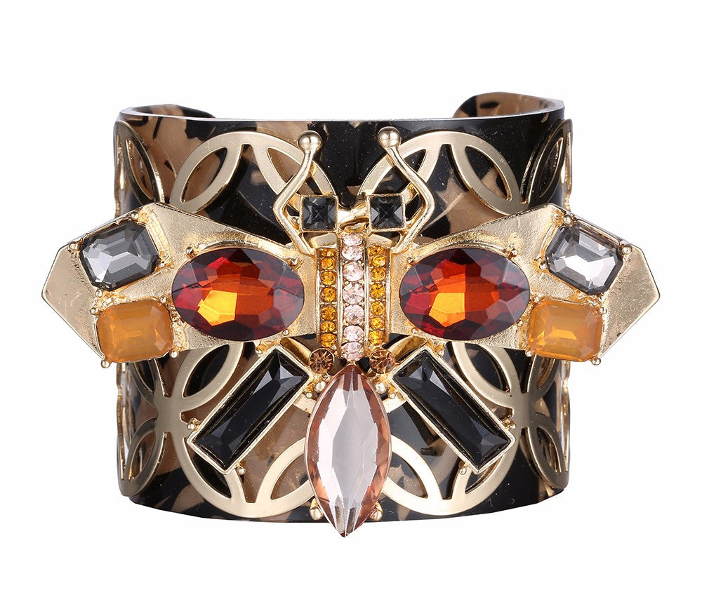 Resin and Gold Plated Butterfly Crystal Cuff Bracelet