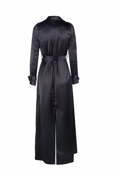 Caliou Black Silky Duster Jacket