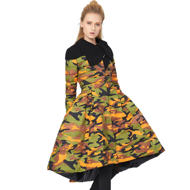 Slay Accessories. Women's camouflage down parka coat. Stylish camouflage coat. Stylish women's outerwear.