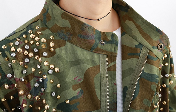Slay Accessories. Camouflage Jacket with Studs. Flowers camouflage coat.