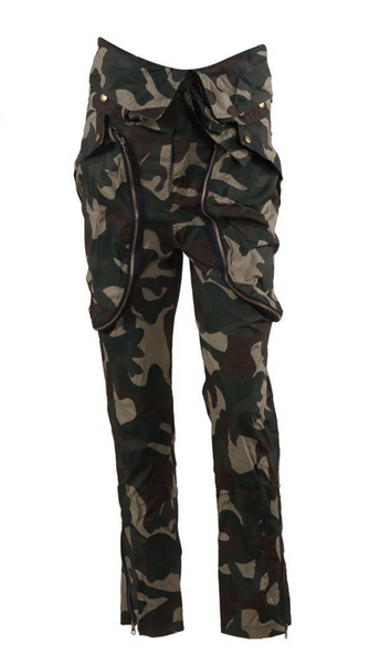 High Waist Baggy Slim Fit Cargo Trousers Oversized Pockets Camouflage Pants