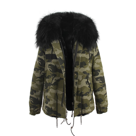 Slay Accessories. Camouflage hooded fur parka. Parka jacket with fur trim hood.