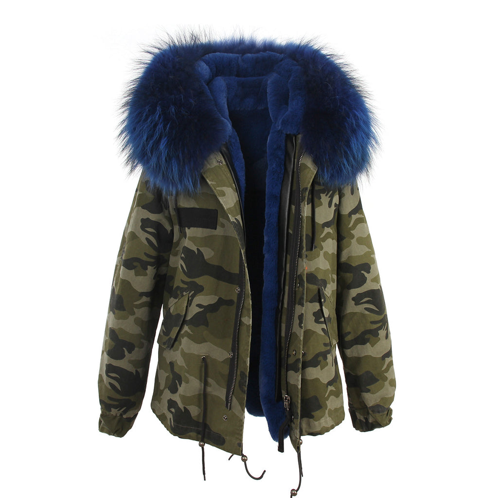 Parka with blue fur hood