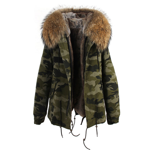 Slay Accessories. Camouflage natural fur hooded parka coat. Fur parka coat.