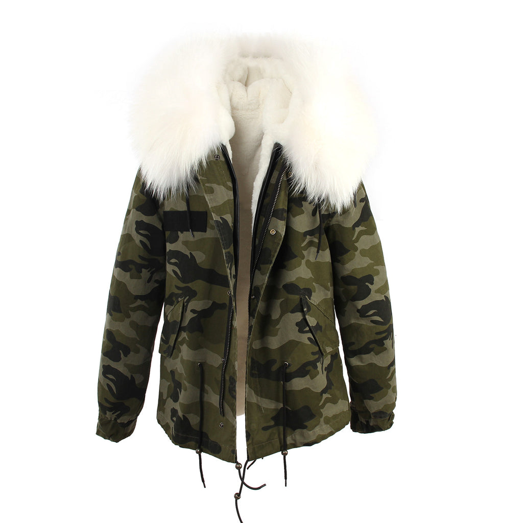 Slay Accessories. Camouflage parka with fur hood. Camouflage parka with murmansky fur hood.