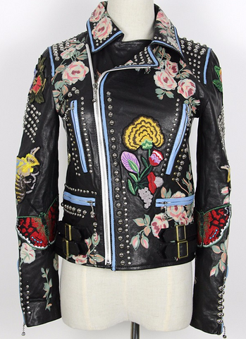 Slay Accessories. Studded and embroidery patchwork leather jacket. Studded embroidery leather motorcycle jacket. Embroidered leather biker jacket.