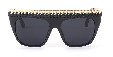 Slay Accessories. Gold chain woven embellished sunglasses with mirror lens.