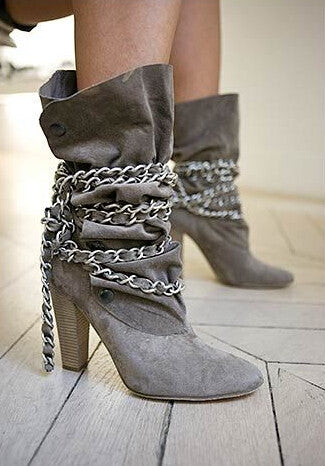 Slay Accessories. Chain strap boots. Suede chain silver chain strap boots.
