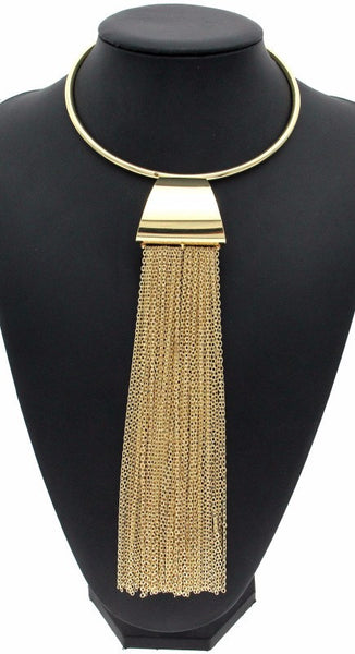 Gold Silver Choker Long Chain Tassels Torques Necklace