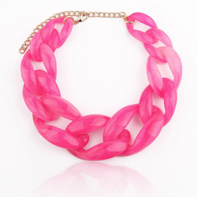 Fashion Resin Chunky Collar Choker Necklace Bright Color Link Chains