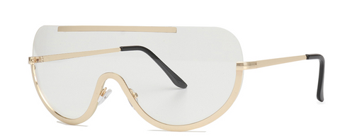 Slay Accessories. Clear lens sunglasses with gold tone metal framing.
