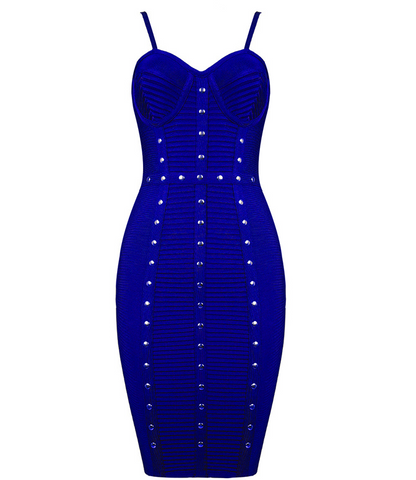 Slay Accessories. Blue studded bandage dress.