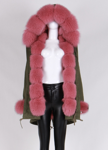 Slay Accessories. Luxury fur parka coat. Midi green parka murmansky fur hood and patchwork fox fur lining.