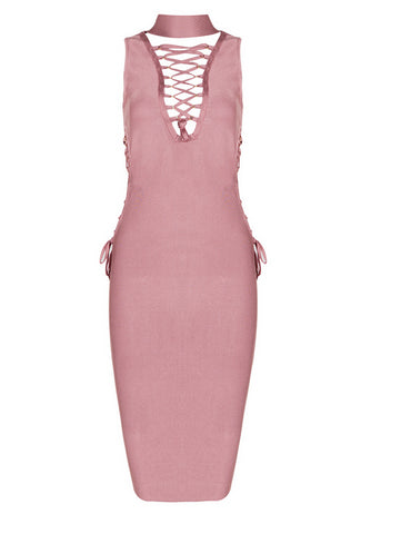 Slay Accessories. Coral pink tie up bandage midi dress.