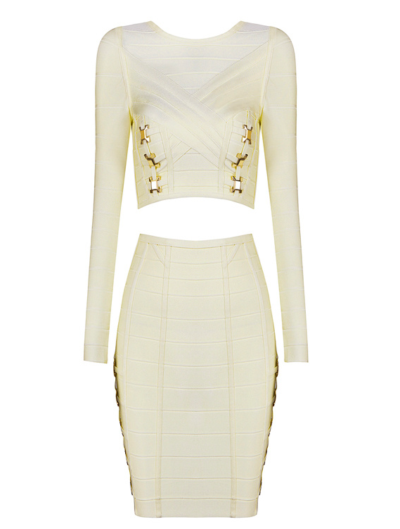 Willow Cream Bandage Skirt Top Set