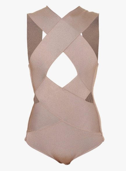 Slay Accessories. Criss Cross cut out Blush Bodysuit. Bandage cut out Bodysuit.