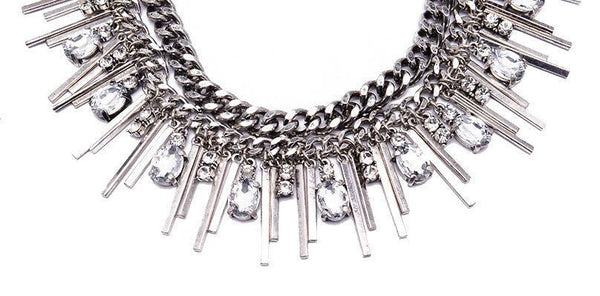Multi-layer Silver Chunky Chains Bib Tassel Choker Metal Bar Pendants