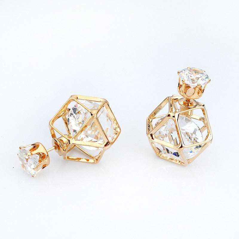 Fashion Crystal Geometric Gold Plated 18k Earrings
