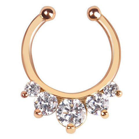 Crystal and Gold Metal Nose Ring Faux Septum Hoop