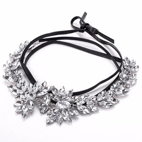 Slay Accessories. Crystal leather choker necklace.