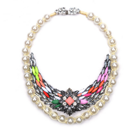 Slay Accessories. Colorful crystal and pearls statement necklace. Shourouk inspired necklaces. Designer style jewelry.