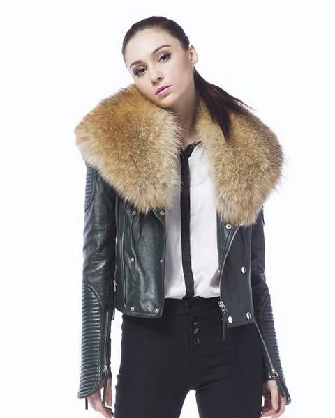 Slay Accessories. Green leather biker jacket with fur collar. Luxury leather biker jacket. Leather motorcycle jacket. Leather and fur motorcycle jacket.