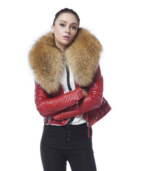 Danny Joe Red Leather Fur Collar Jacket