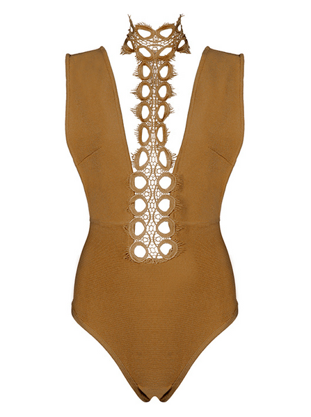 Slay Accessories. Khaki bandage and choker neck lace bodysuit.