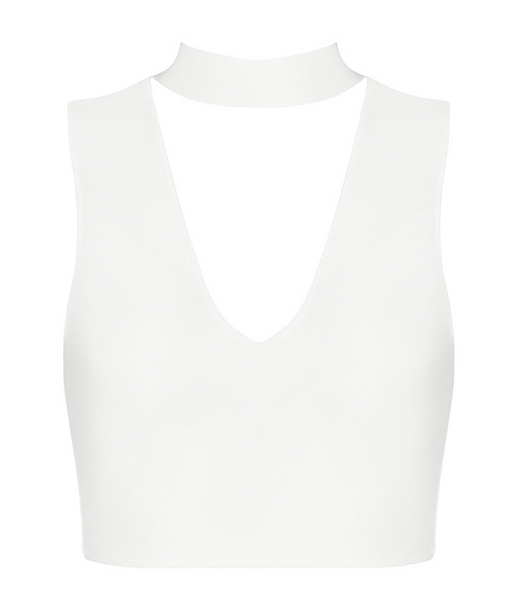 Syuli Mock Neck White V Bandage Top
