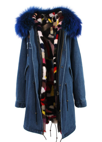 Slay Accessories. Long denim fur parka with mink fur lining. Customized fur parka coat.
