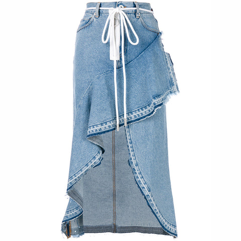 Slay Accessories. Distressed denim ruffle skirt.
