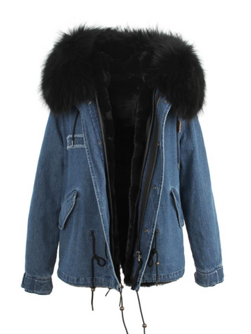 Slay Accessories. Denim parka jacket black fur collar. Denim parka fur.