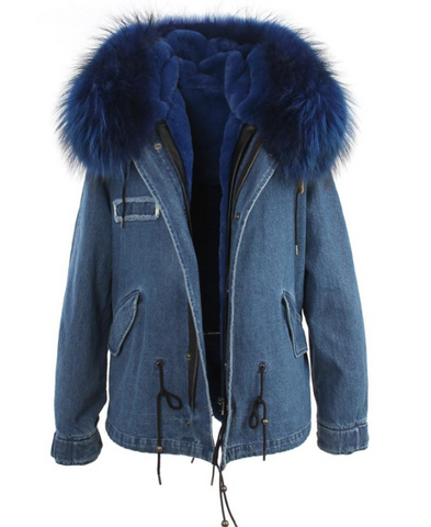 Slay Accessories. Denim parka jacket fur hood. Denim parka fur