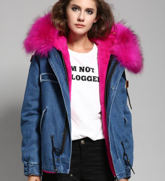 Slay Accessories. Denim parka jacket hot pink fur. Denim parka fur
