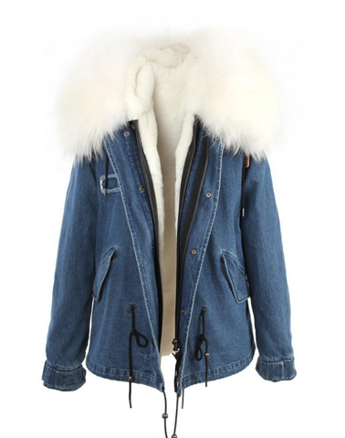 Slay Accessories. Denim parka jacket white fur collar. Denim parka fur white.