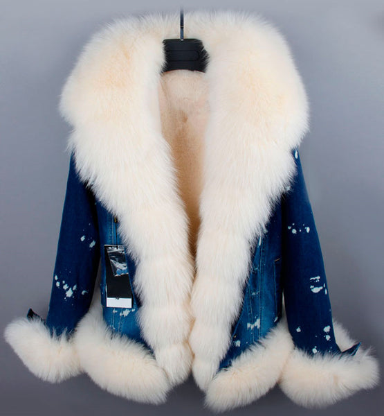 Slay Accessories. Denim and fur jacket