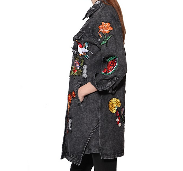 Slay Accessories. Distressed embroidered denim coat. Oversized patchwork denim coat.