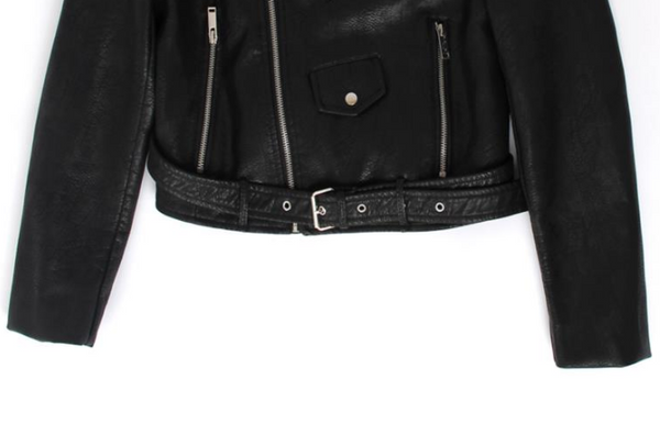Slay Accessories. Black leather motorcycle jacket. Black leather biker jacket