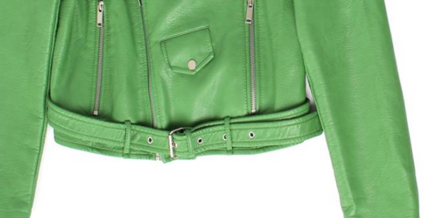 Slay Accessories. Green leather motorcycle jacket. Green leather biker jacket.
