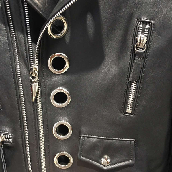 Slay Accessories. Leather biker jacket with silver metal grommets. Black leather motorcycle. Silver studded biker jacket.