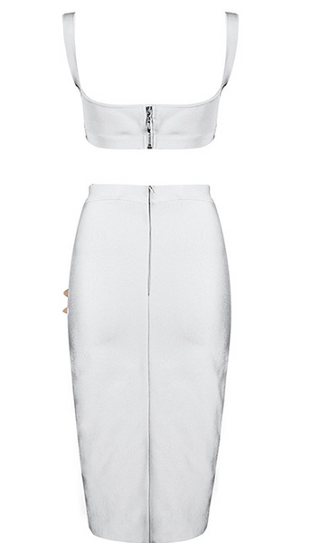 Donna White Two Piece Bandage Dress