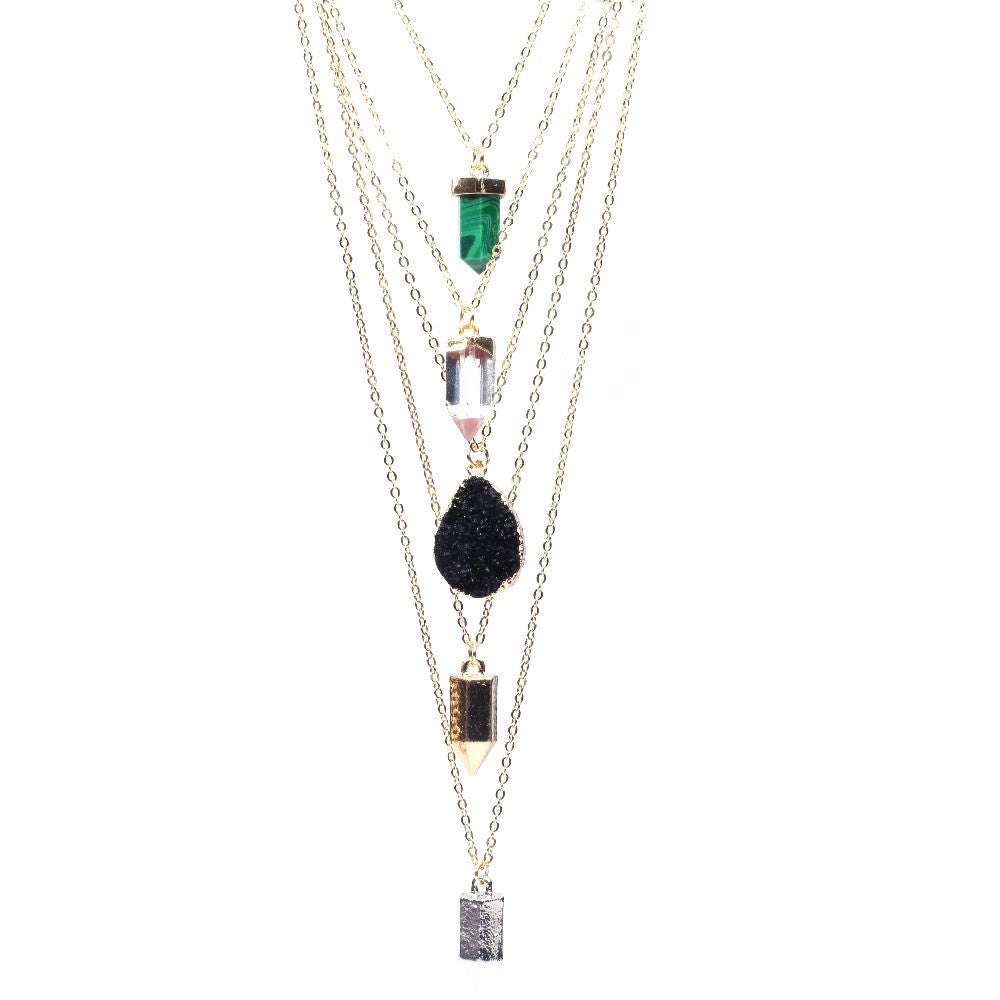 Multi-layer Druzy Quartz Long Pendants Necklace Gold Chain