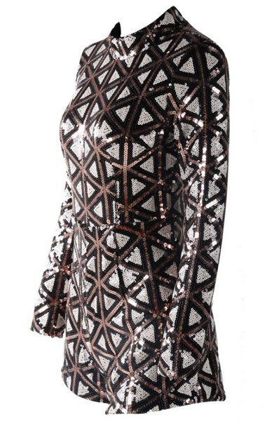 Slay Accessories. Sequin romper. Geometric print sequin romper.
